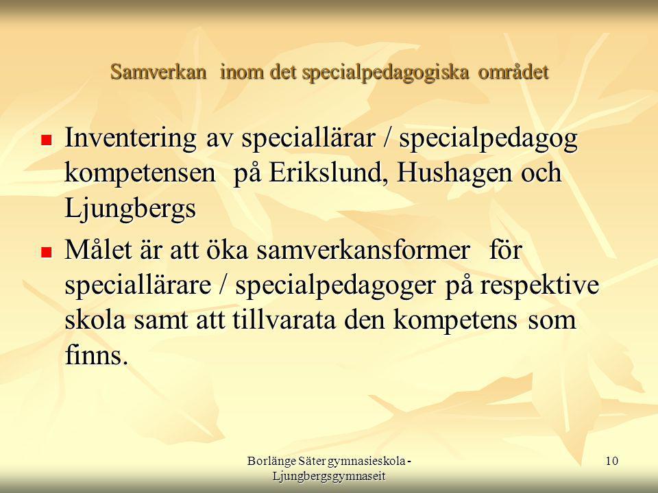 Borlänge Säter gymnasieskola - Ljungbergsgymnaseit 10 Samverkan inom det specialpedagogiska området  Inventering av speciallärar / specialpedagog kompetensen på Erikslund, Hushagen och Ljungbergs  Målet är att öka samverkansformer för speciallärare / specialpedagoger på respektive skola samt att tillvarata den kompetens som finns.