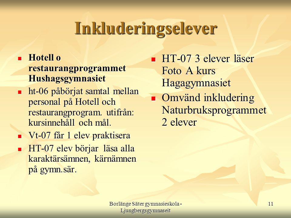 Borlänge Säter gymnasieskola - Ljungbergsgymnaseit 11 Inkluderingselever  Hotell o restaurangprogrammet Hushagsgymnasiet  ht-06 påbörjat samtal mellan personal på Hotell och restaurangprogram.