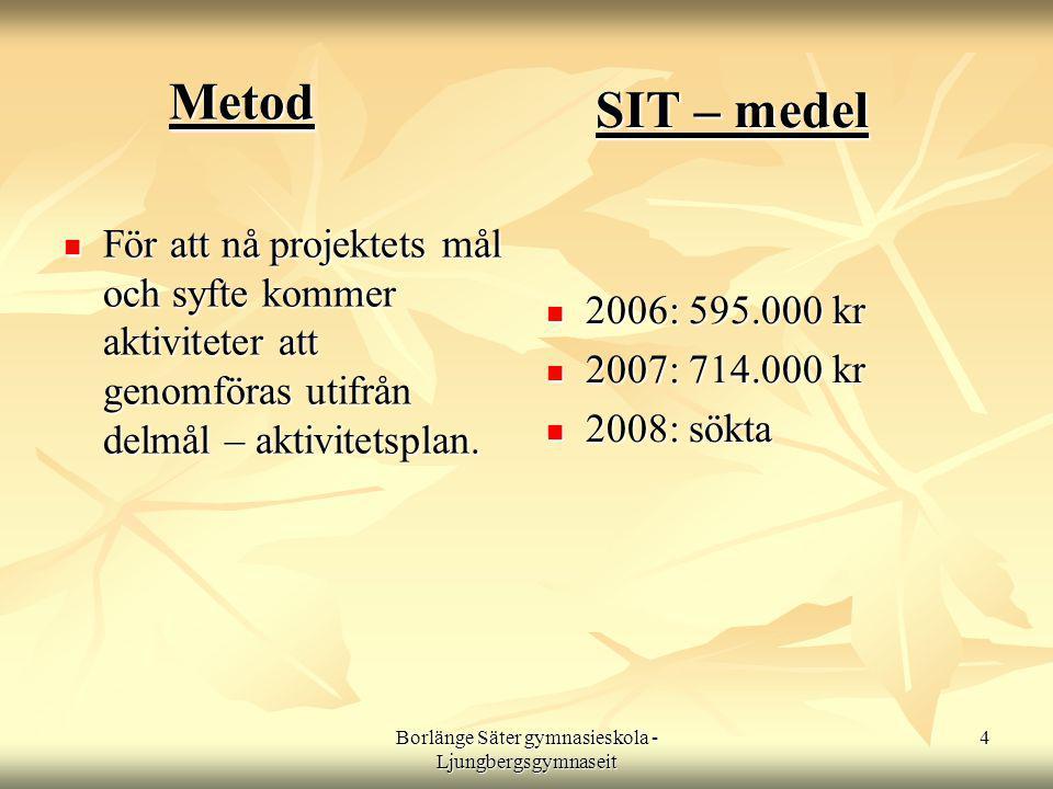 Borlänge Säter gymnasieskola - Ljungbergsgymnaseit 4 Metod  För att nå projektets mål och syfte kommer aktiviteter att genomföras utifrån delmål – aktivitetsplan.