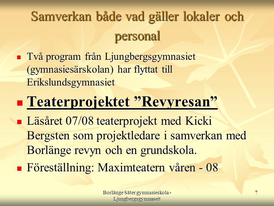 7 Samverkan både vad gäller lokaler och personal  Två program från Ljungbergsgymnasiet (gymnasiesärskolan) har flyttat till Erikslundsgymnasiet  Teaterprojektet Revyresan  Läsåret 07/08 teaterprojekt med Kicki Bergsten som projektledare i samverkan med Borlänge revyn och en grundskola.