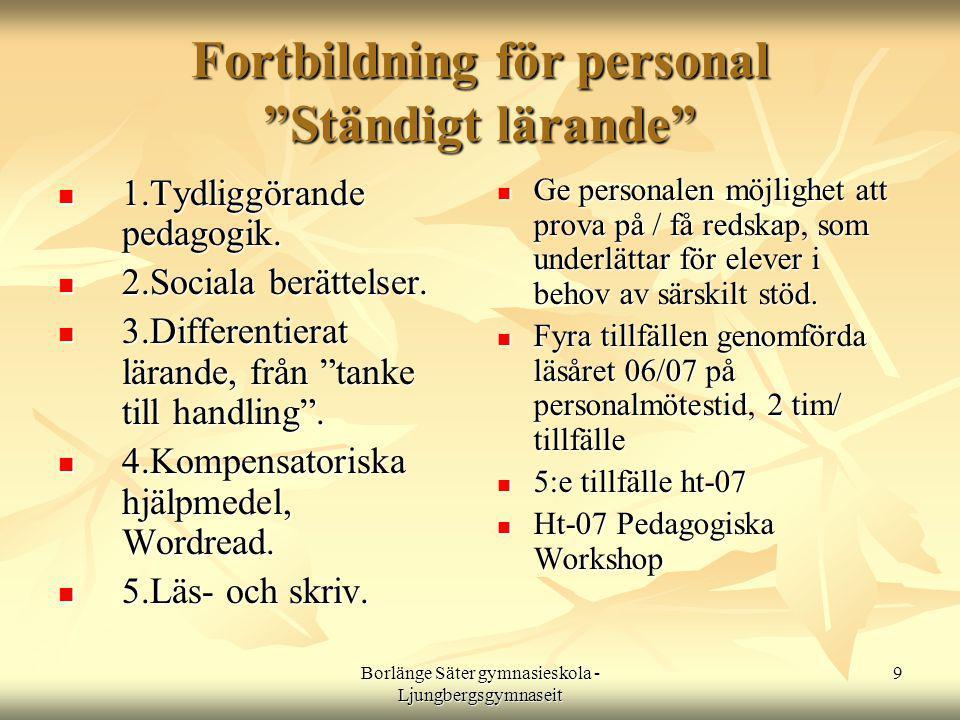Borlänge Säter gymnasieskola - Ljungbergsgymnaseit 9 Fortbildning för personal Ständigt lärande  1.Tydliggörande pedagogik.