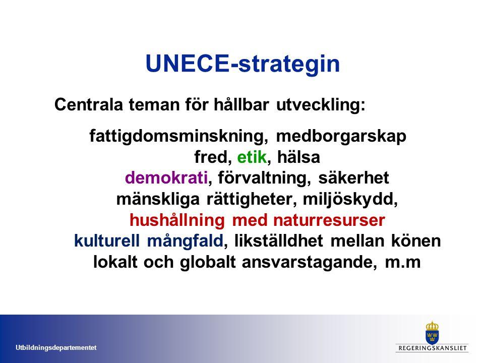Utbildningsdepartementet UNECE-strategin Centrala teman för hållbar utveckling: fattigdomsminskning, medborgarskap fred, etik, hälsa demokrati, förvaltning, säkerhet mänskliga rättigheter, miljöskydd, hushållning med naturresurser kulturell mångfald, likställdhet mellan könen lokalt och globalt ansvarstagande, m.m