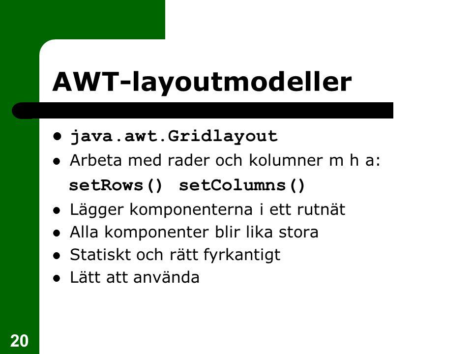 20 AWT-layoutmodeller  java.awt.Gridlayout  Arbeta med rader och kolumner m h a: setRows() setColumns()  Lägger komponenterna i ett rutnät  Alla komponenter blir lika stora  Statiskt och rätt fyrkantigt  Lätt att använda
