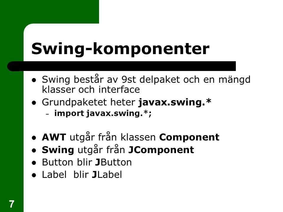 18 AWT-layoutmodeller Fem stycken knappar utplacerade enligt BorderLayout