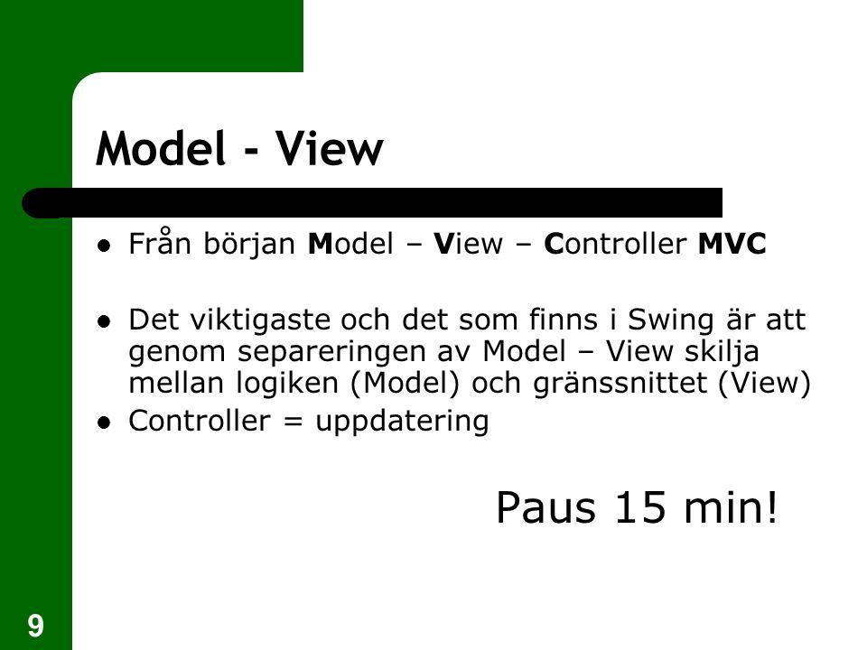 9 Model - View  Från början Model – View – Controller MVC  Det viktigaste och det som finns i Swing är att genom separeringen av Model – View skilja mellan logiken (Model) och gränssnittet (View)  Controller = uppdatering Paus 15 min!