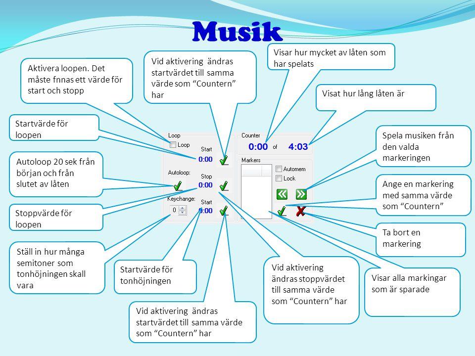 Musik Startvärde för loopen Aktivera loopen. Det måste fnnas ett värde för start och stopp Ta bort en markering Autoloop 20 sek från början och från s