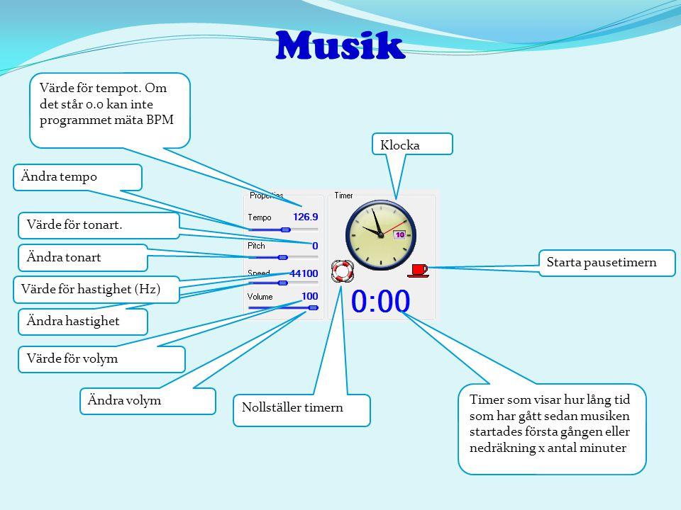 Musik Ändra tempo Värde för tempot. Om det står 0.0 kan inte programmet mäta BPM Timer som visar hur lång tid som har gått sedan musiken startades för