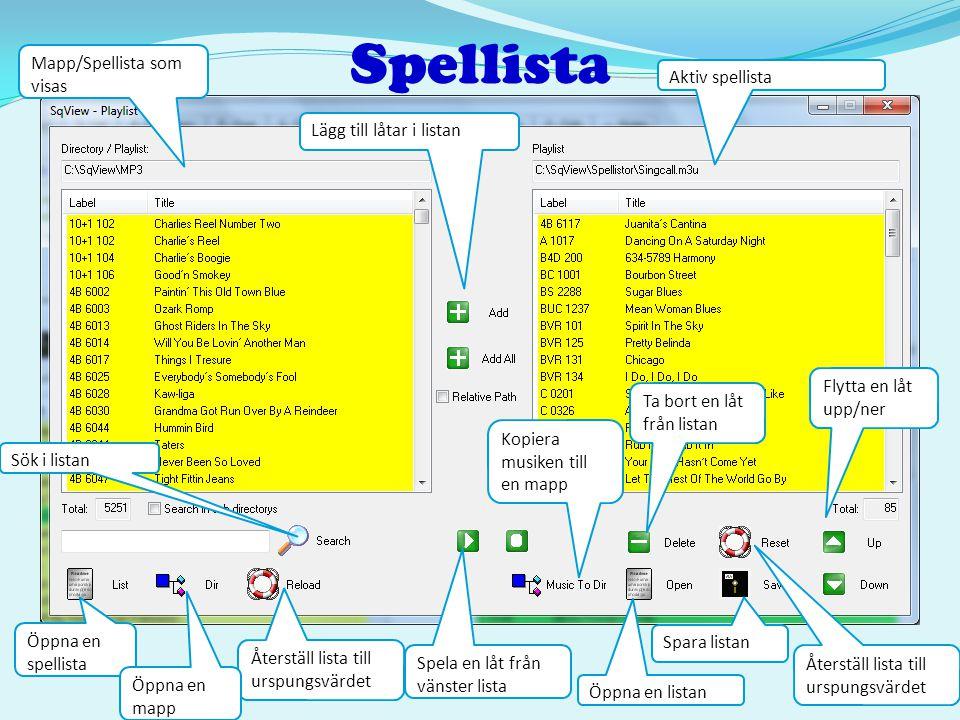 Spellista Lägg till låtar i listan Aktiv spellista Mapp/Spellista som visas Flytta en låt upp/ner Sök i listan Återställ lista till urspungsvärdet Spa