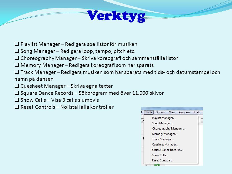 Verktyg  Playlist Manager – Redigera spellistor för musiken  Song Manager – Redigera loop, tempo, pitch etc.  Choreography Manager – Skriva koreogr