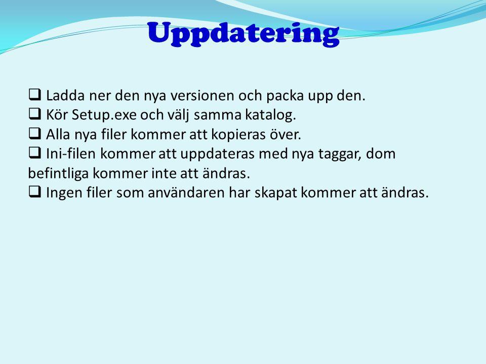 Uppdatering  Ladda ner den nya versionen och packa upp den.  Kör Setup.exe och välj samma katalog.  Alla nya filer kommer att kopieras över.  Ini-