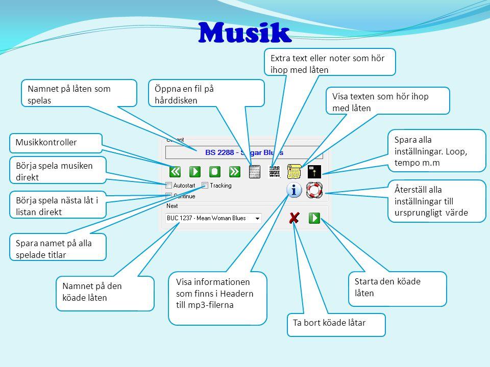 Musik Musikkontroller Namnet på låten som spelas Börja spela musiken direkt Börja spela nästa låt i listan direkt Spara namet på alla spelade titlar Ö