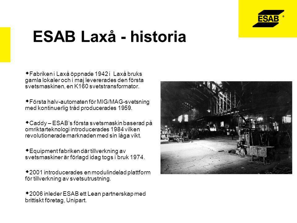 ESAB Laxå - idag  ESAB producerar i dag en bred produktflora från små bärbara svetsutrustningar till stora helautomatiska anläggningar.