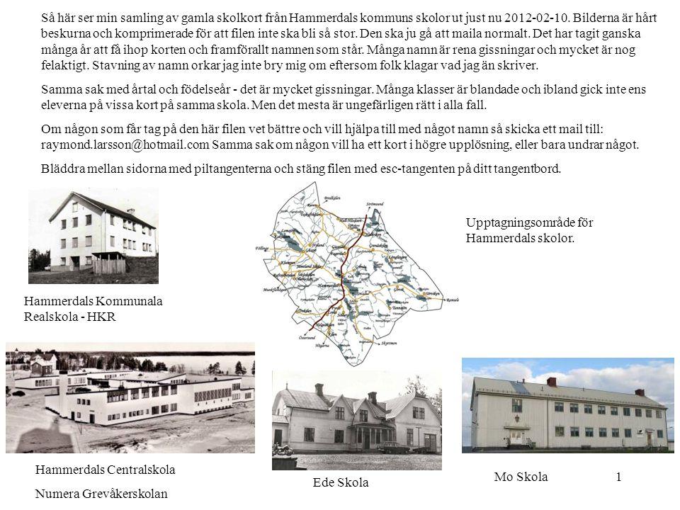 1 Så här ser min samling av gamla skolkort från Hammerdals kommuns skolor ut just nu 2012-02-10. Bilderna är hårt beskurna och komprimerade för att fi