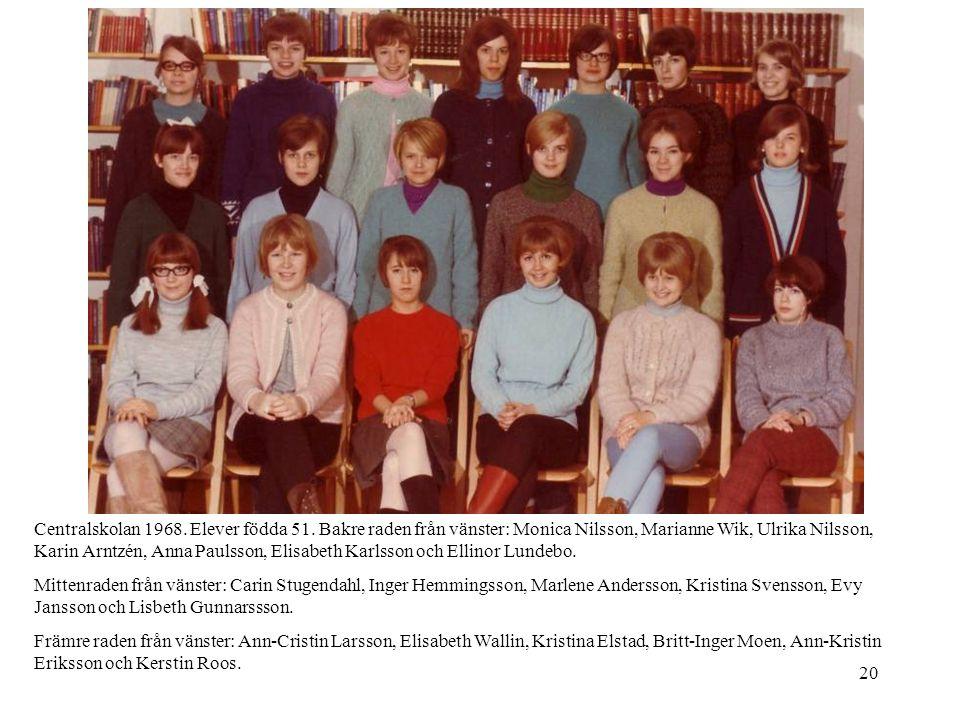 20 Centralskolan 1968. Elever födda 51. Bakre raden från vänster: Monica Nilsson, Marianne Wik, Ulrika Nilsson, Karin Arntzén, Anna Paulsson, Elisabet