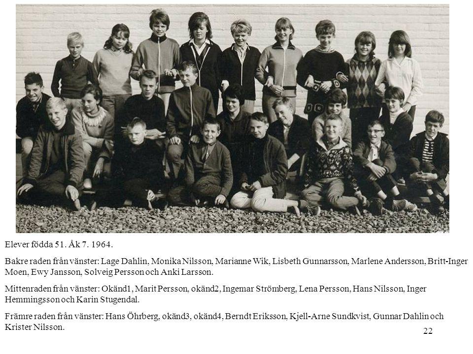 22 Elever födda 51. Åk 7. 1964. Bakre raden från vänster: Lage Dahlin, Monika Nilsson, Marianne Wik, Lisbeth Gunnarsson, Marlene Andersson, Britt-Inge