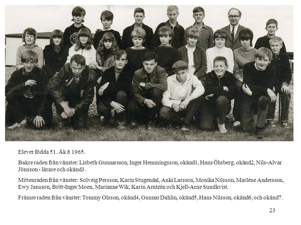 23 Elever födda 51. Åk 8 1965. Bakre raden från vänster: Lisbeth Gunnarsson, Inger Hemmingsson, okänd1, Hans Öhrberg, okänd2, Nils-Alvar Jönsson - lär