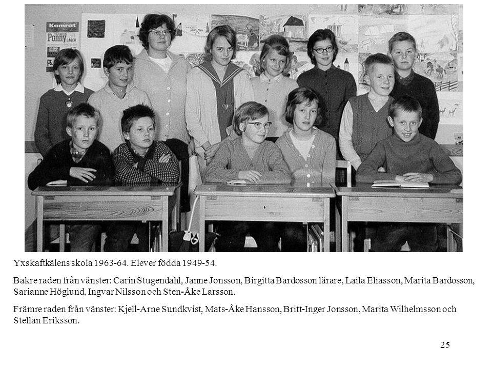 25 Yxskaftkälens skola 1963-64. Elever födda 1949-54. Bakre raden från vänster: Carin Stugendahl, Janne Jonsson, Birgitta Bardosson lärare, Laila Elia