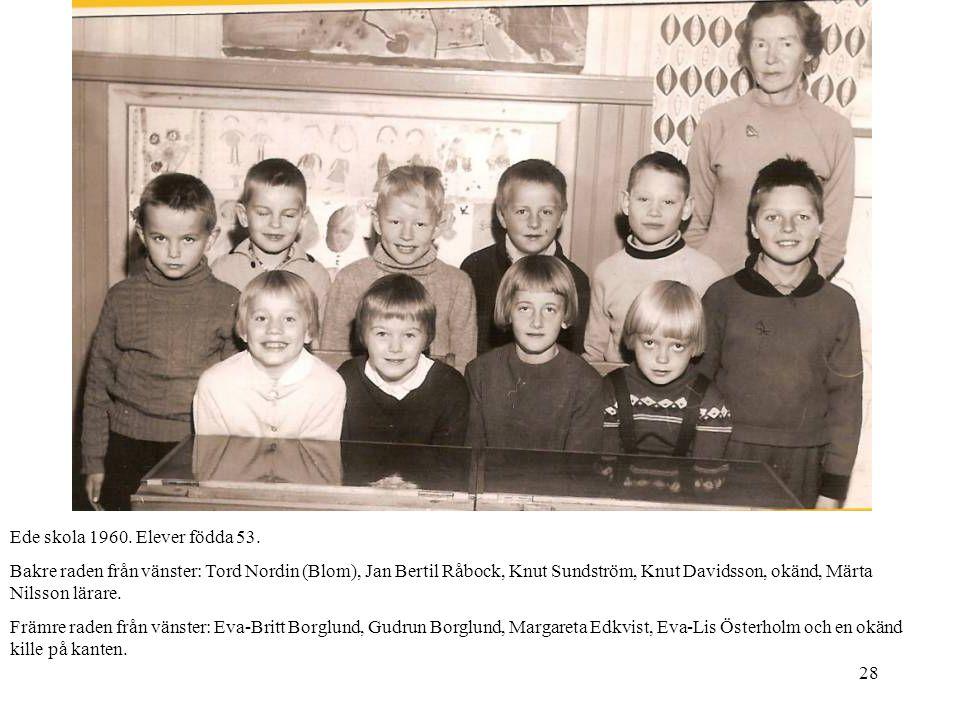 28 Ede skola 1960. Elever födda 53. Bakre raden från vänster: Tord Nordin (Blom), Jan Bertil Råbock, Knut Sundström, Knut Davidsson, okänd, Märta Nils