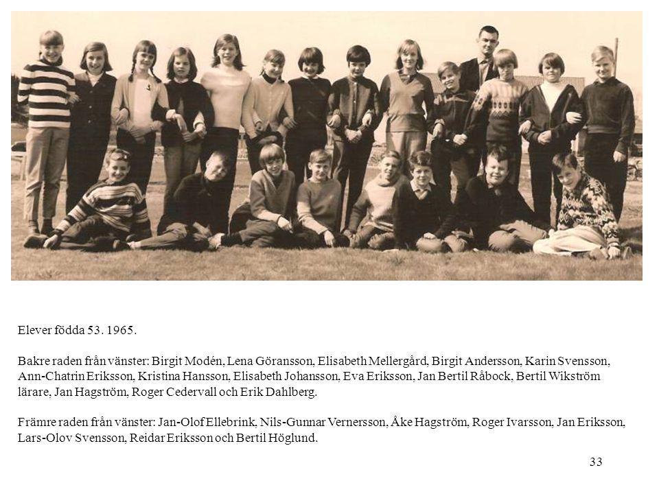 33 Elever födda 53. 1965. Bakre raden från vänster: Birgit Modén, Lena Göransson, Elisabeth Mellergård, Birgit Andersson, Karin Svensson, Ann-Chatrin