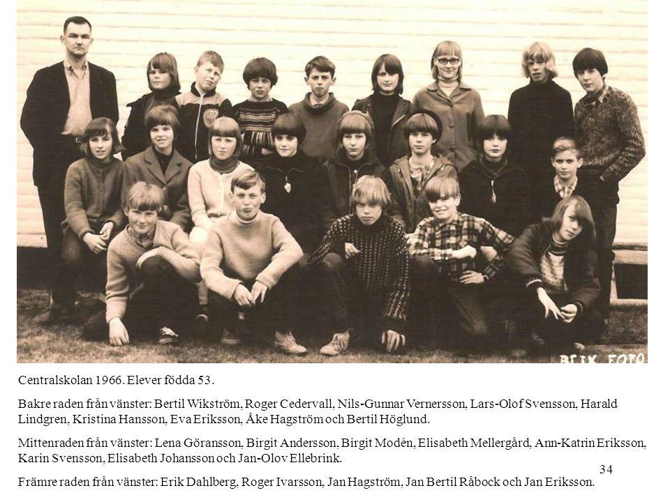 34 Centralskolan 1966. Elever födda 53. Bakre raden från vänster: Bertil Wikström, Roger Cedervall, Nils-Gunnar Vernersson, Lars-Olof Svensson, Harald