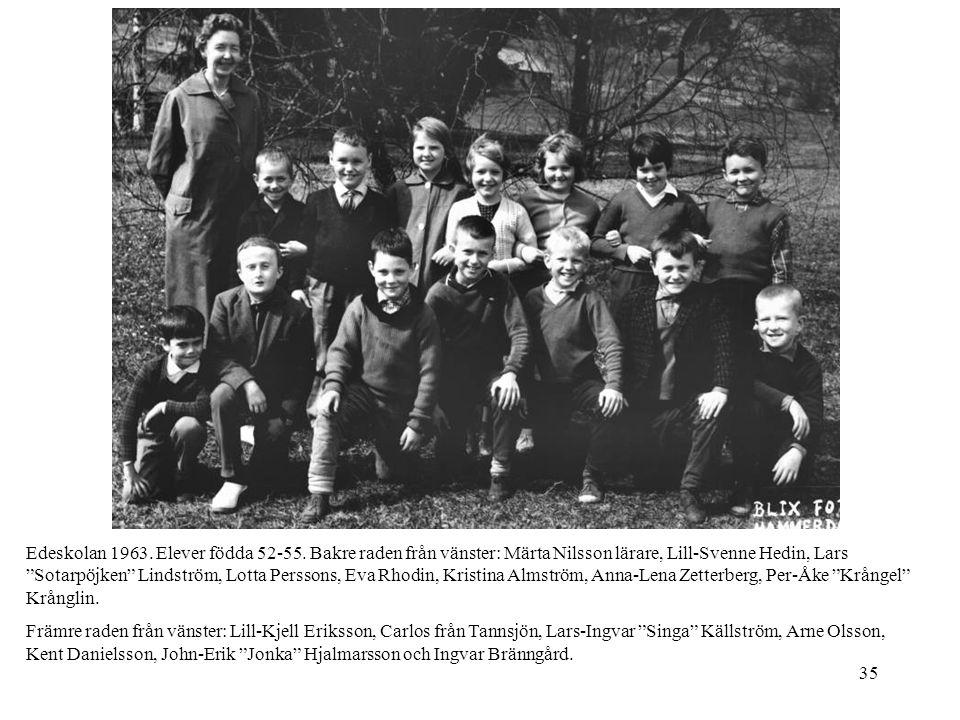 """35 Edeskolan 1963. Elever födda 52-55. Bakre raden från vänster: Märta Nilsson lärare, Lill-Svenne Hedin, Lars """"Sotarpöjken"""" Lindström, Lotta Perssons"""
