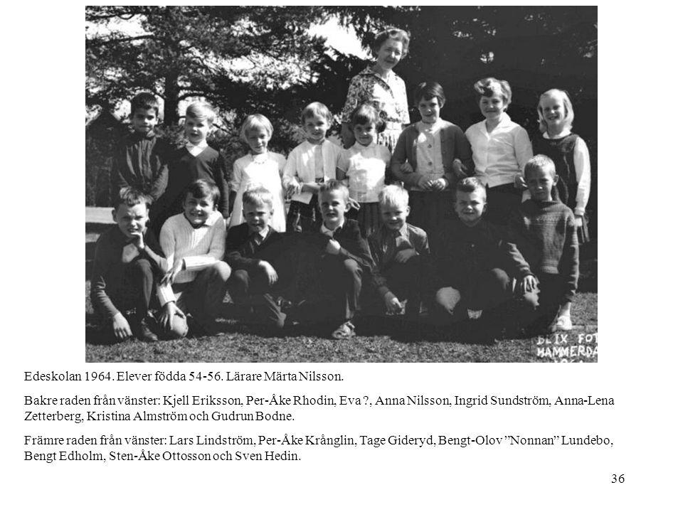 36 Edeskolan 1964. Elever födda 54-56. Lärare Märta Nilsson. Bakre raden från vänster: Kjell Eriksson, Per-Åke Rhodin, Eva ?, Anna Nilsson, Ingrid Sun