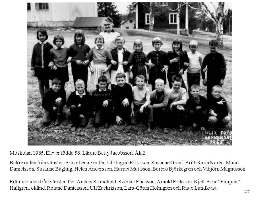 47 Moskolan 1965. Elever födda 56. Lärare Betty Jacobsson. Åk 2. Bakre raden från vänster: Anna-Lena Ferdér, Lill-Ingrid Eriksson, Susanne Graaf, Brit