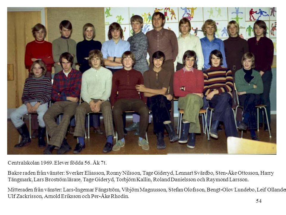 54 Centralskolan 1969. Elever födda 56. Åk 7t. Bakre raden från vänster: Sverker Eliasson, Ronny Nilsson, Tage Gideryd, Lennart Svärdbo, Sten-Åke Otto