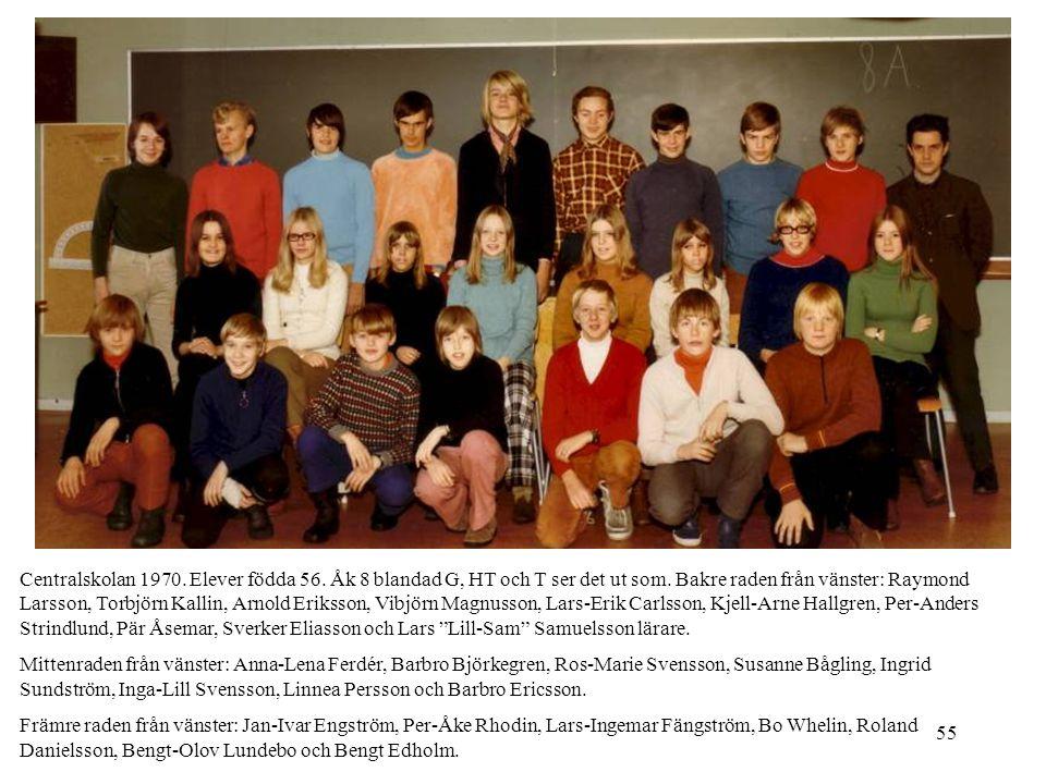 55 Centralskolan 1970. Elever födda 56. Åk 8 blandad G, HT och T ser det ut som. Bakre raden från vänster: Raymond Larsson, Torbjörn Kallin, Arnold Er