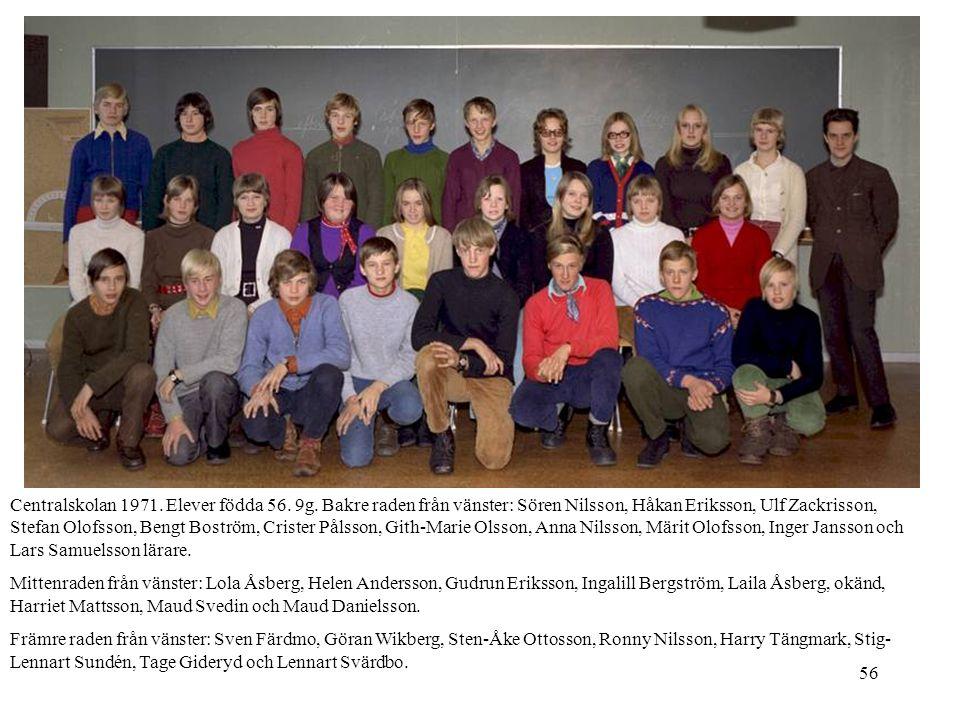 56 Centralskolan 1971. Elever födda 56. 9g. Bakre raden från vänster: Sören Nilsson, Håkan Eriksson, Ulf Zackrisson, Stefan Olofsson, Bengt Boström, C