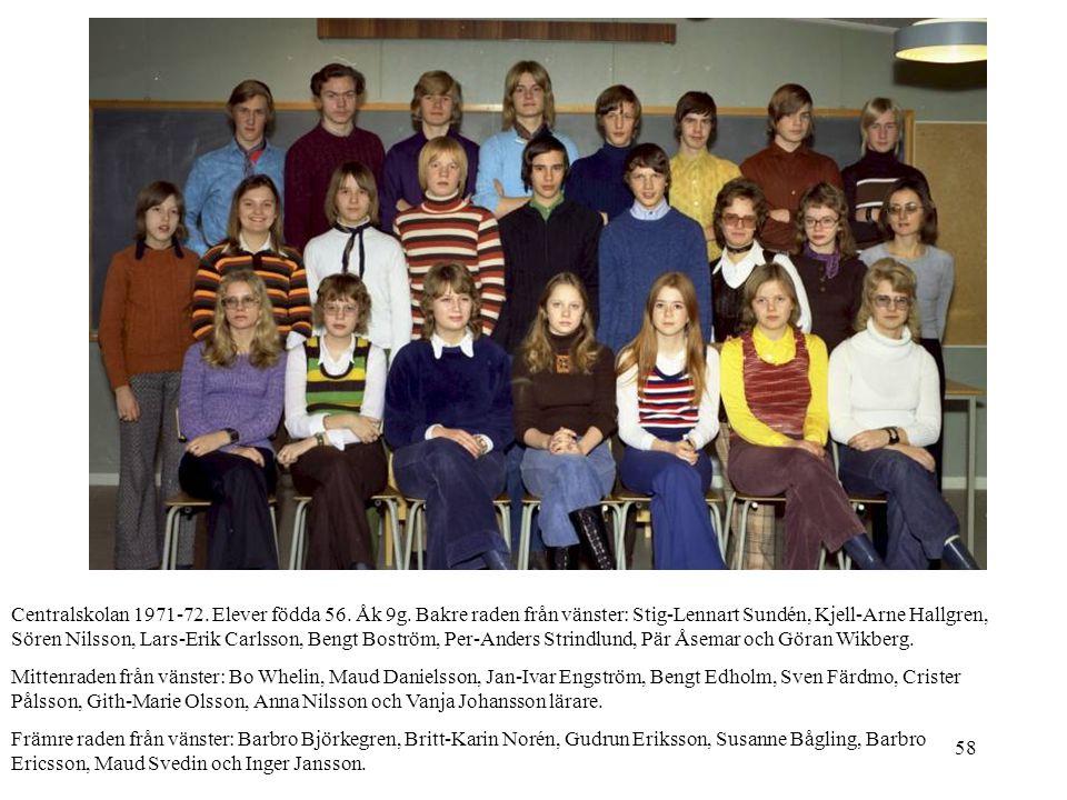 58 Centralskolan 1971-72. Elever födda 56. Åk 9g. Bakre raden från vänster: Stig-Lennart Sundén, Kjell-Arne Hallgren, Sören Nilsson, Lars-Erik Carlsso