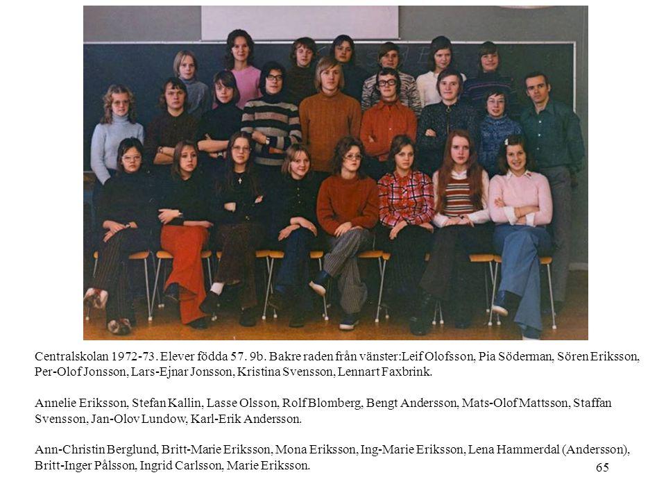 65 Centralskolan 1972-73. Elever födda 57. 9b. Bakre raden från vänster:Leif Olofsson, Pia Söderman, Sören Eriksson, Per-Olof Jonsson, Lars-Ejnar Jons