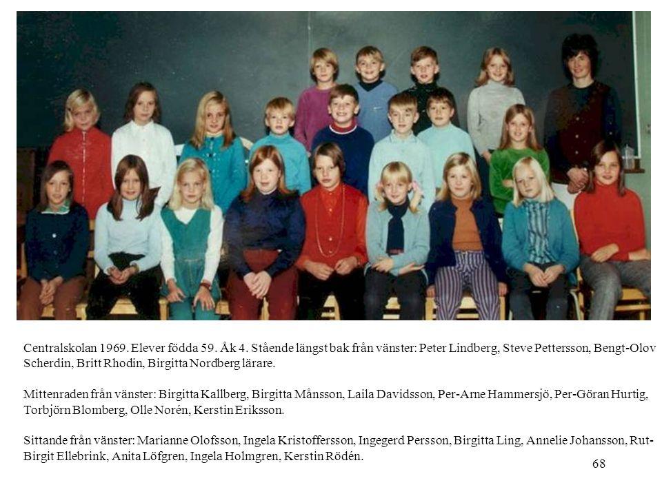 68 Centralskolan 1969. Elever födda 59. Åk 4. Stående längst bak från vänster: Peter Lindberg, Steve Pettersson, Bengt-Olov Scherdin, Britt Rhodin, Bi