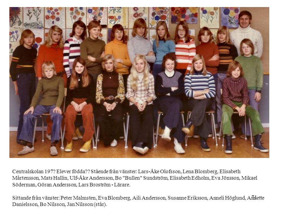 71 Centralskolan 197? Elever födda?? Stående från vänster: Lars-Åke Olofsson, Lena Blomberg, Elisabeth Mårtensson, Mats Hallin, Ulf-Åke Andersson, Bo