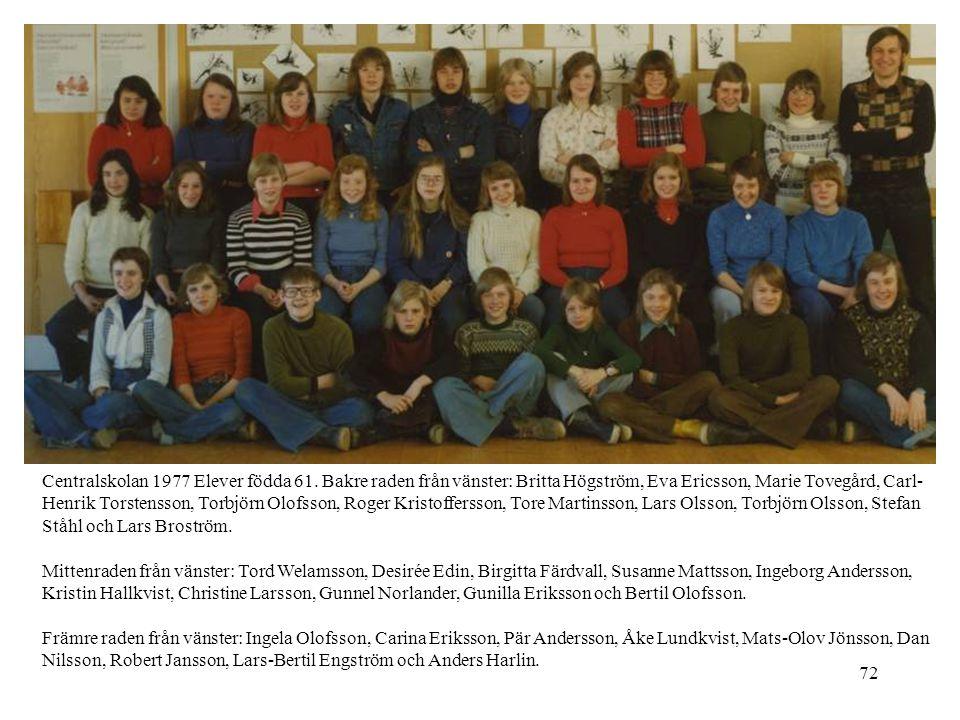 72 Centralskolan 1977 Elever födda 61. Bakre raden från vänster: Britta Högström, Eva Ericsson, Marie Tovegård, Carl- Henrik Torstensson, Torbjörn Olo