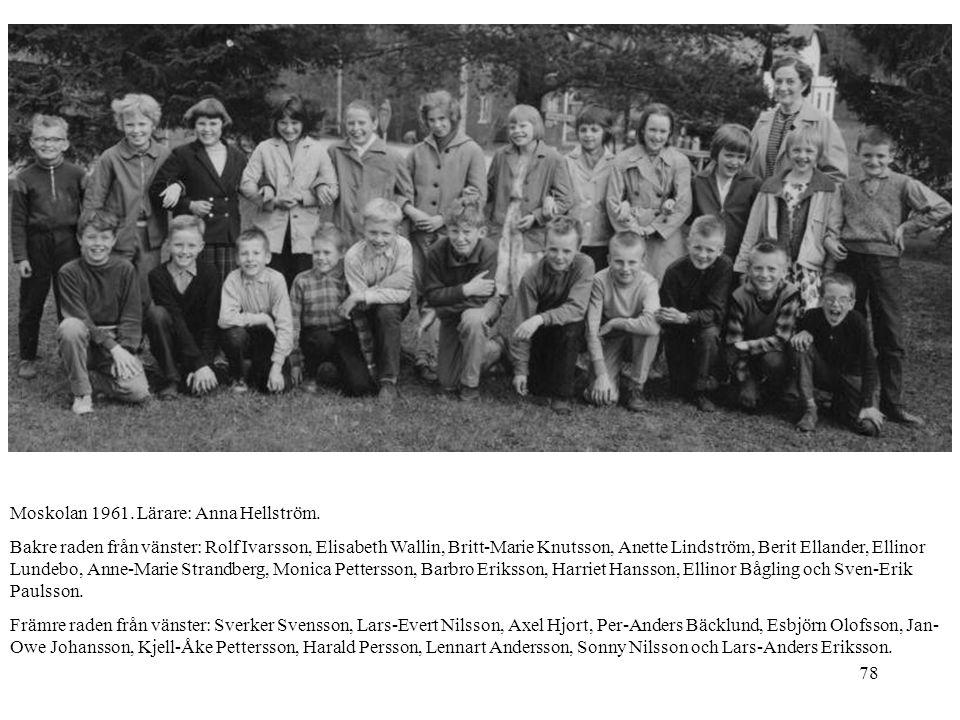 78 Moskolan 1961. Lärare: Anna Hellström. Bakre raden från vänster: Rolf Ivarsson, Elisabeth Wallin, Britt-Marie Knutsson, Anette Lindström, Berit Ell
