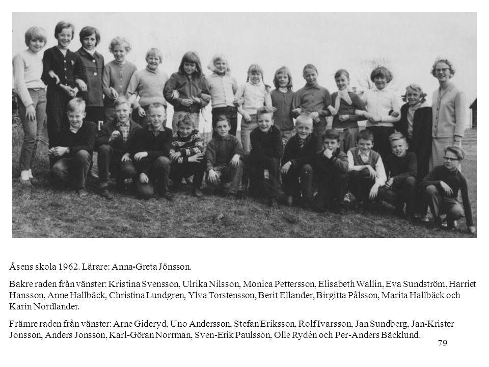 79 Åsens skola 1962. Lärare: Anna-Greta Jönsson. Bakre raden från vänster: Kristina Svensson, Ulrika Nilsson, Monica Pettersson, Elisabeth Wallin, Eva