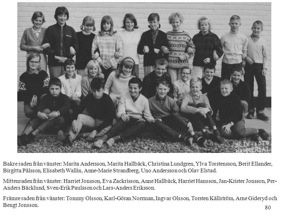 80 Bakre raden från vänster: Marita Andersson, Marita Hallbäck, Christina Lundgren, Ylva Torstensson, Berit Ellander, Birgitta Pålsson, Elisabeth Wall