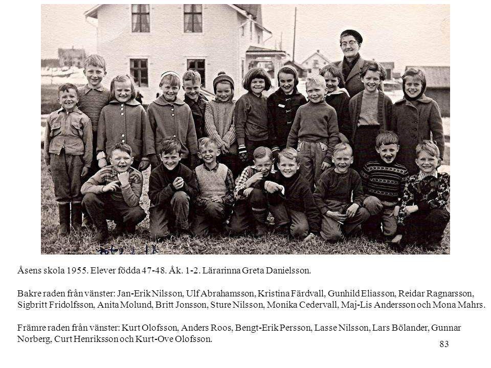 83 Åsens skola 1955. Elever födda 47-48. Åk. 1-2. Lärarinna Greta Danielsson. Bakre raden från vänster: Jan-Erik Nilsson, Ulf Abrahamsson, Kristina Fä