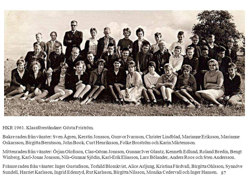 87 HKR 1961. Klassföreståndare: Gösta Friström. Bakre raden från vänster: Sven Ågren, Kerstin Jonsson, Gunvor Ivarsson, Christer Lindblad, Marianne Er
