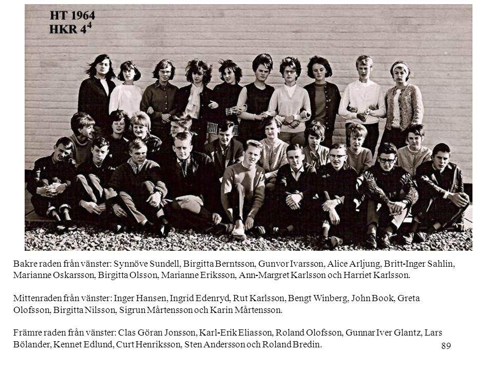 89 Bakre raden från vänster: Synnöve Sundell, Birgitta Berntsson, Gunvor Ivarsson, Alice Arljung, Britt-Inger Sahlin, Marianne Oskarsson, Birgitta Ols