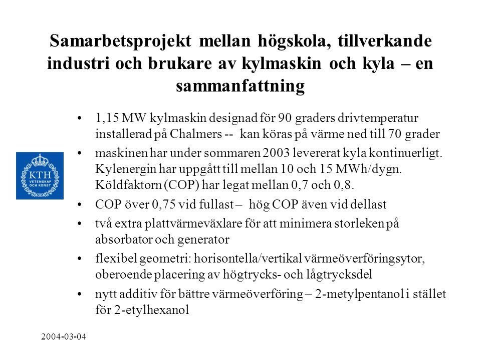 2004-03-04 Samarbetsprojekt mellan högskola, tillverkande industri och brukare av kylmaskin och kyla – en sammanfattning •1,15 MW kylmaskin designad f
