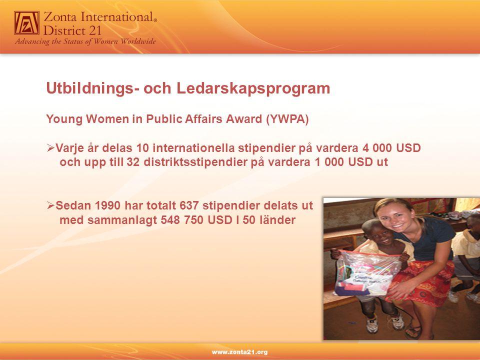 Utbildnings- och Ledarskapsprogram Young Women in Public Affairs Award (YWPA)  Varje år delas 10 internationella stipendier på vardera 4 000 USD och