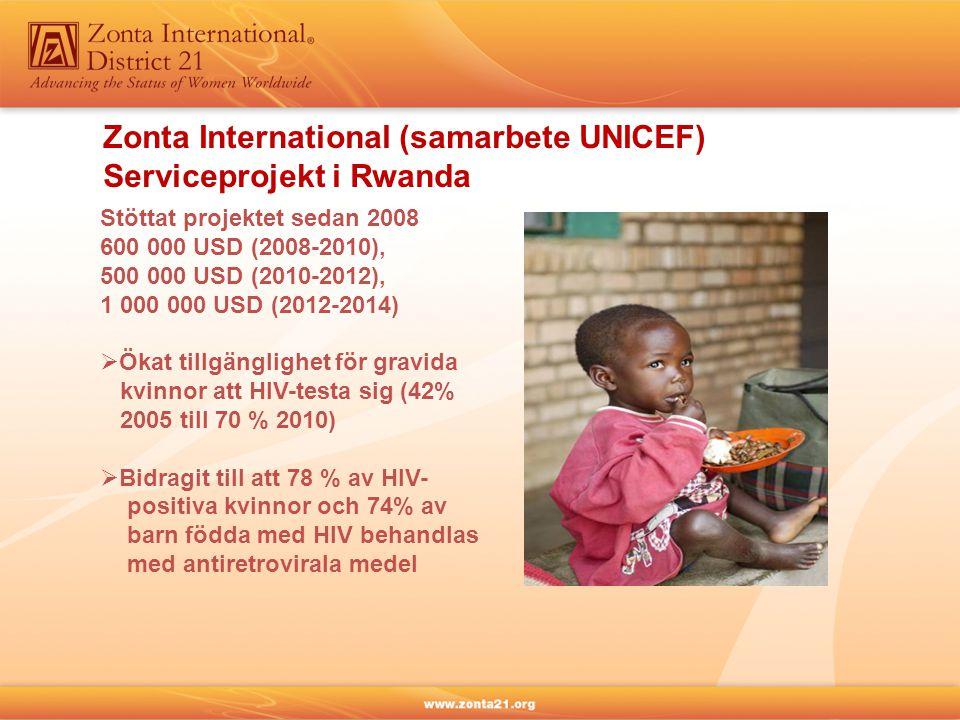Zonta International (samarbete UNICEF) Serviceprojekt i Rwanda Stöttat projektet sedan 2008 600 000 USD (2008-2010), 500 000 USD (2010-2012), 1 000 000 USD (2012-2014)  Ökat tillgänglighet för gravida kvinnor att HIV-testa sig (42% 2005 till 70 % 2010)  Bidragit till att 78 % av HIV- positiva kvinnor och 74% av barn födda med HIV behandlas med antiretrovirala medel