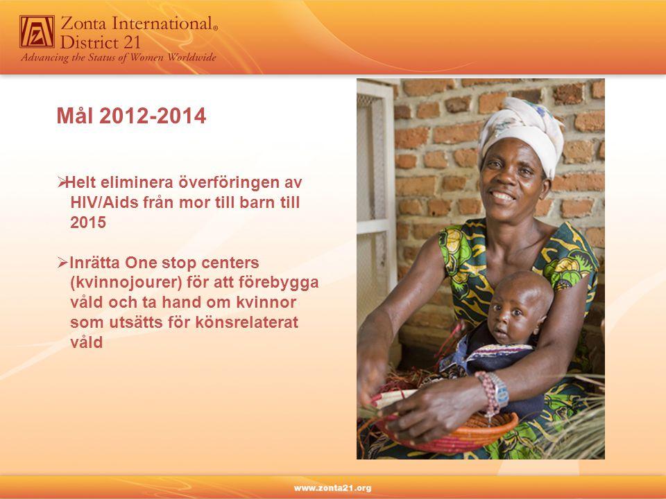 Mål 2012-2014  Helt eliminera överföringen av HIV/Aids från mor till barn till 2015  Inrätta One stop centers (kvinnojourer) för att förebygga våld