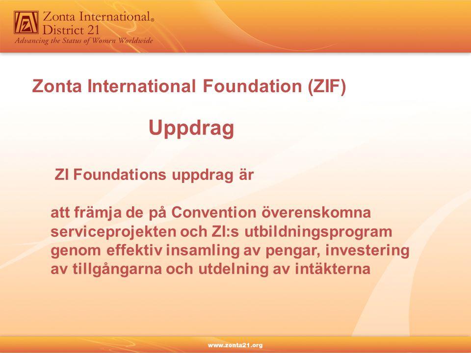 Zonta International Foundation (ZIF) Uppdrag ZI Foundations uppdrag är att främja de på Convention överenskomna serviceprojekten och ZI:s utbildningsp