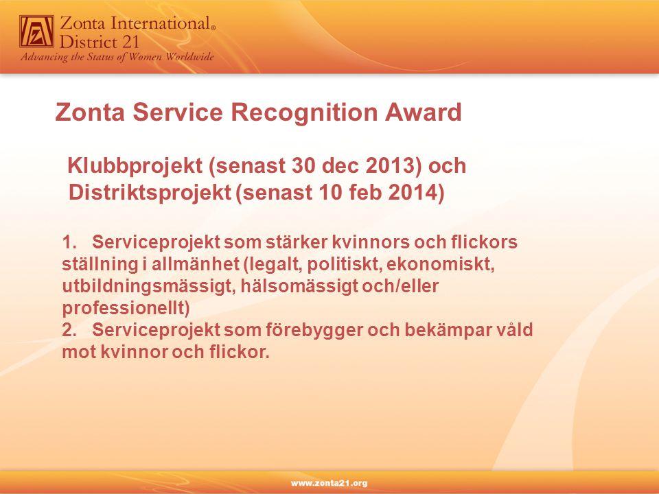 Klubbprojekt (senast 30 dec 2013) och Distriktsprojekt (senast 10 feb 2014) 1. Serviceprojekt som stärker kvinnors och flickors ställning i allmänhet