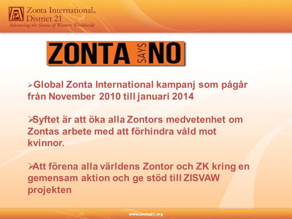  Global Zonta International kampanj som pågår från November 2010 till januari 2014  Syftet är att öka alla Zontors medvetenhet om Zontas arbete med att förhindra våld mot kvinnor.