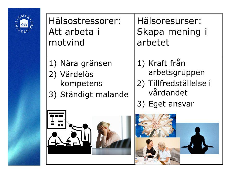 Hälsostressorer: Att arbeta i motvind Hälsoresurser: Skapa mening i arbetet 1)Nära gränsen 2)Värdelös kompetens 3)Ständigt malande 1)Kraft från arbets