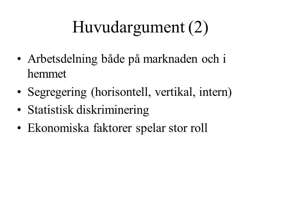 Huvudargument (2) •Arbetsdelning både på marknaden och i hemmet •Segregering (horisontell, vertikal, intern) •Statistisk diskriminering •Ekonomiska faktorer spelar stor roll